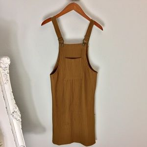 Brown overall fitted knee length dress